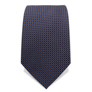 Krawatte 7,5 cm Feines gewebtes Muster, Braun / Blau / Weiß