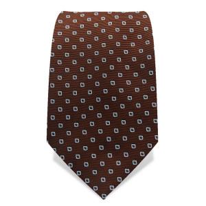 Krawatte 7,5 cm Feines Muster, Quarder, Braun / Hellblau