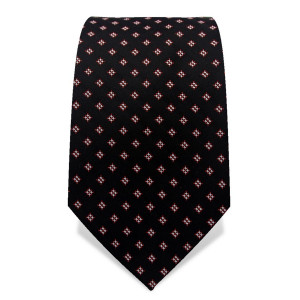 Krawatte 7,5 cm Feines Webmuster, Schwarz / Weiß / Rot